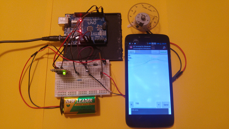 Arduino dc motor using a transistor and hc bluetooth