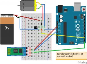 Arduino DC motor using a transistor and a HC-05 bluetooth